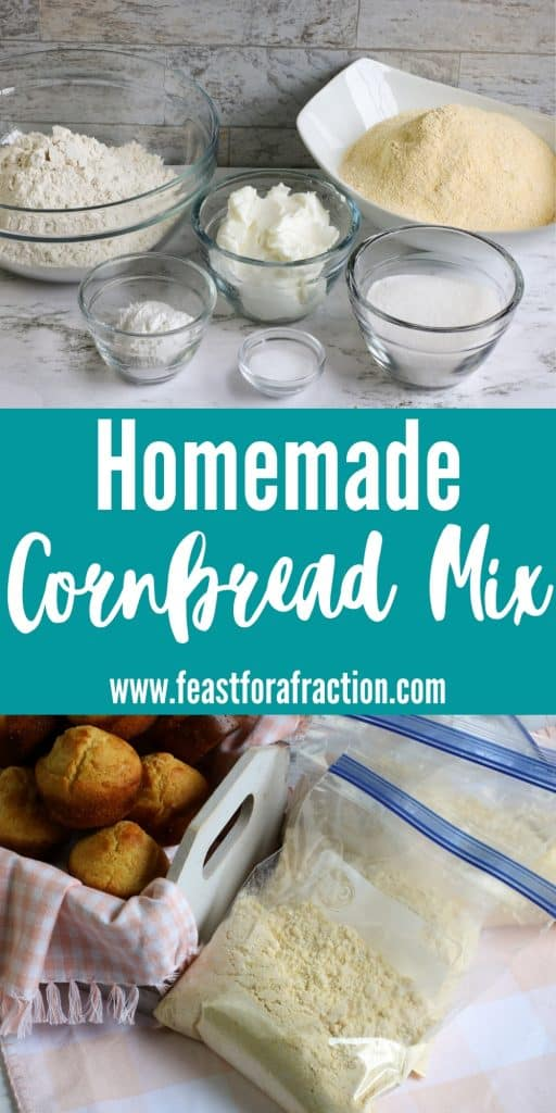 collage of cornbread mix ingredients and mix in storage bags