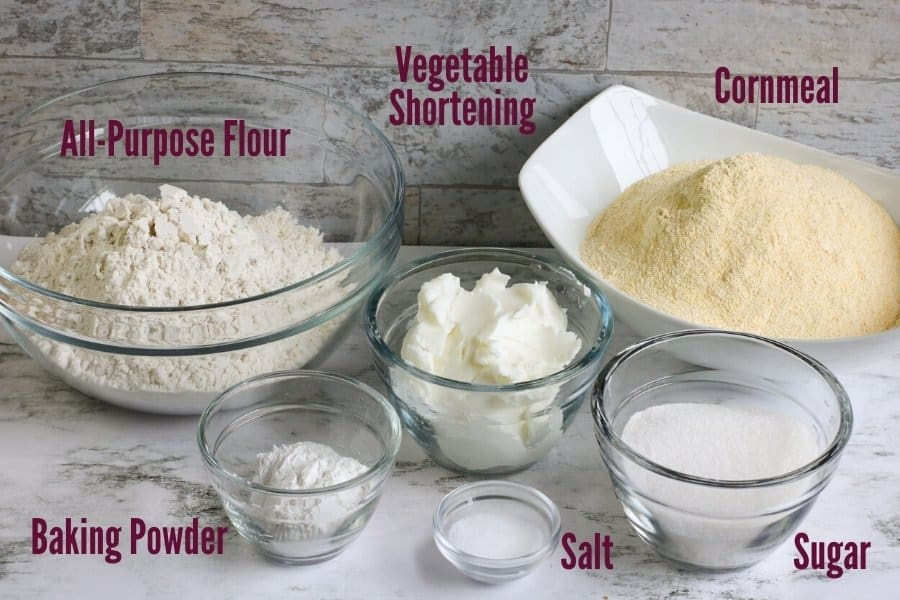 cornbread mix ingredients with text labeling each ingredient