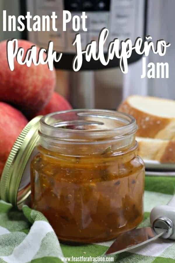 jar of peach jalapeño jam with instant pot in background