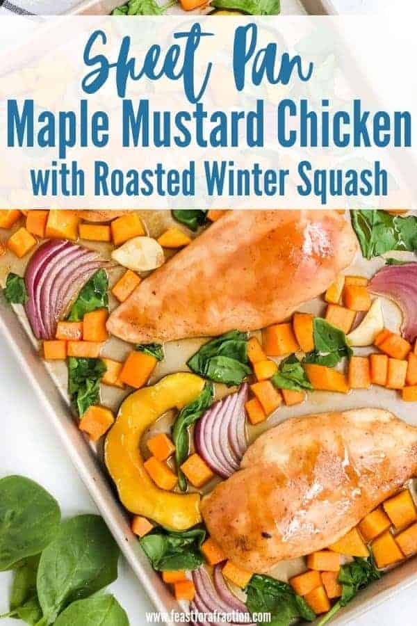 overhead view of roasted chicken breast, acorn squash and butternut squash on sheet pan