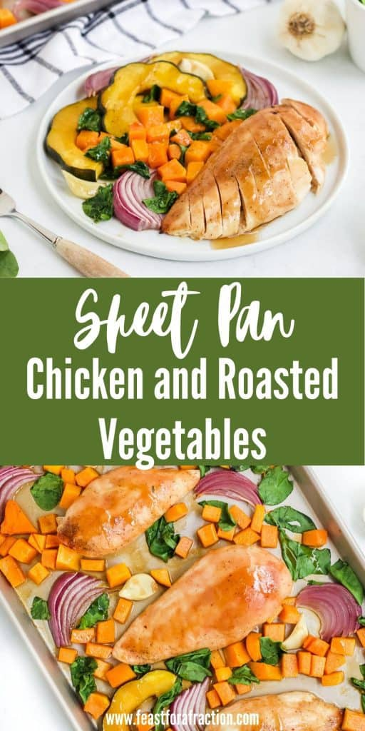 collage of sheet pan chicken and roasted vegetables or white plate