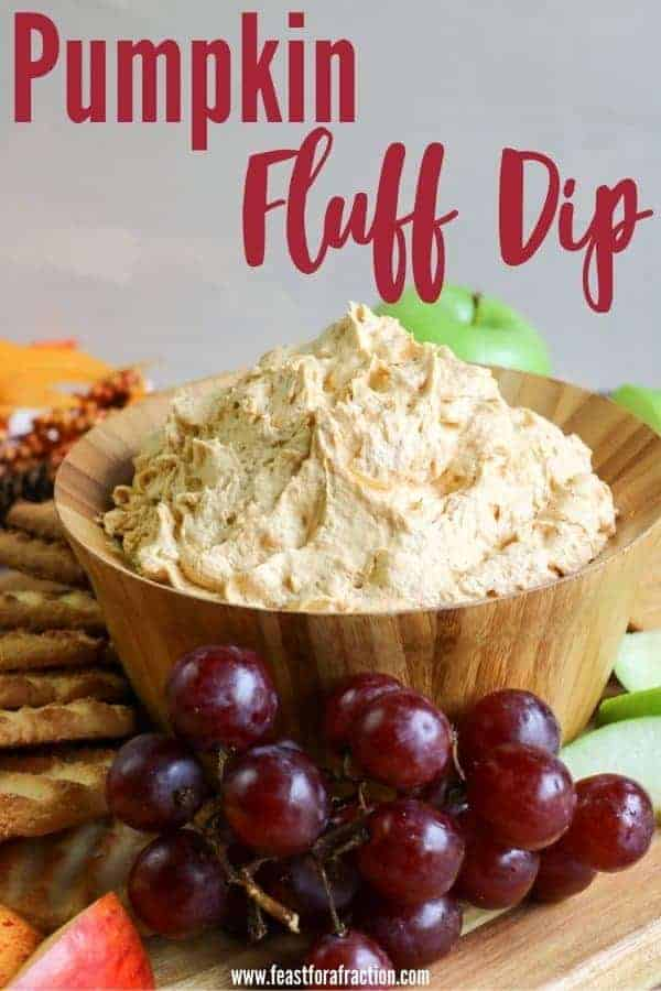 pumpkin fluff dip in wooden bowl with title text