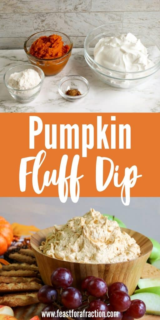 collage of pumpkin fluff dip ingredients and bowl of dip