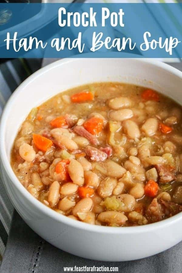 ham and bean soup in white bowl with title text