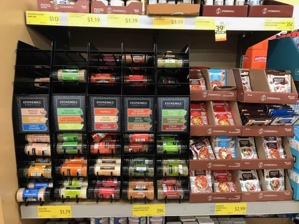 spice aisle at Aldi