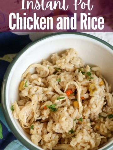 """white bowl filled with chicken and rice with title text """"instant pot chicken and rice"""""""
