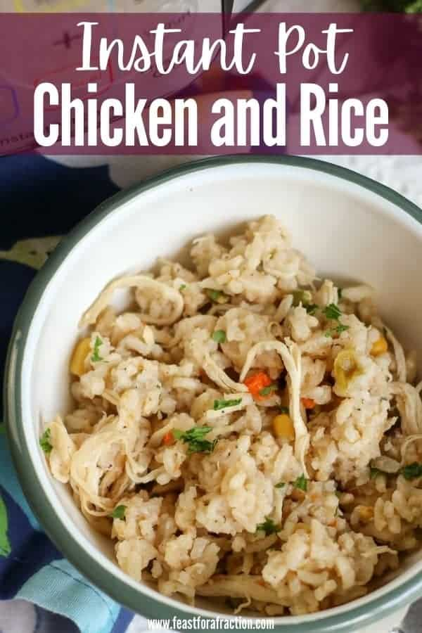 "white bowl filled with chicken and rice with title text ""instant pot chicken and rice"""