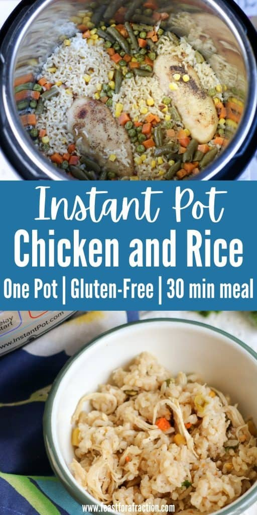 collage of instant pot chicken and rice in instant pot and in white bowl