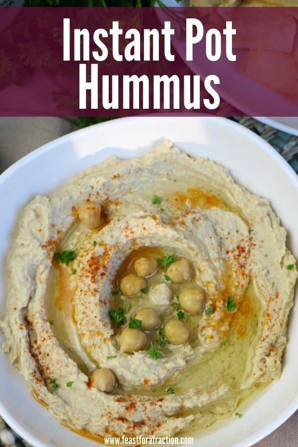 "hummus in white bowl with title text ""Instant Pot Hummus)"