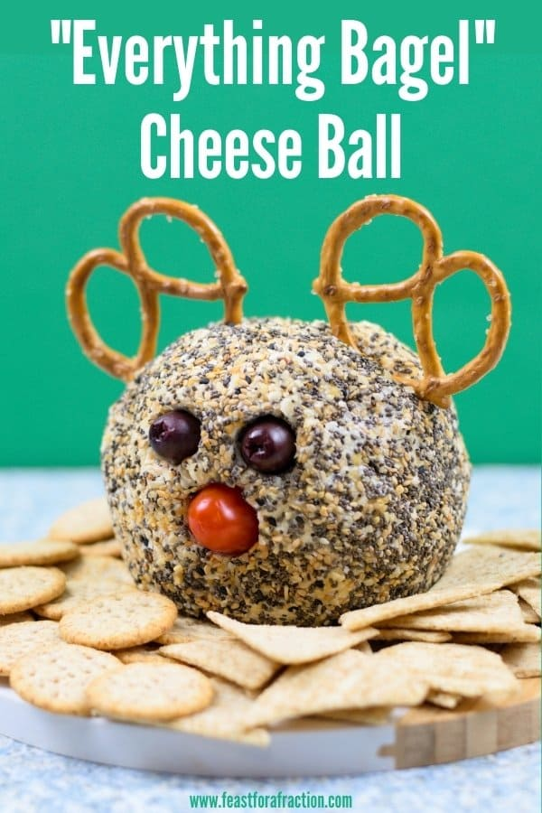 everything bagel cheese ball with title text decorated to look like a reindeer