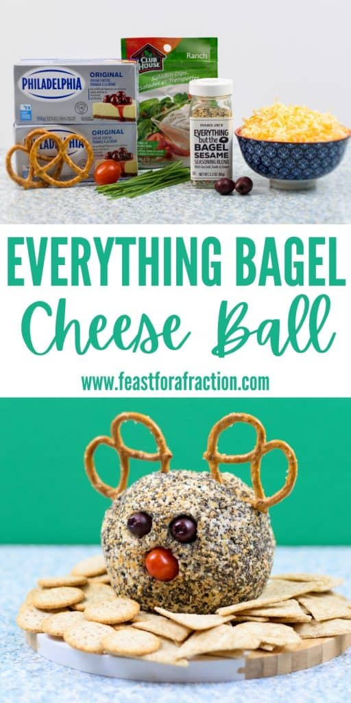 collage image of everything bagel cheese ball ingredients and prepared cheese ball