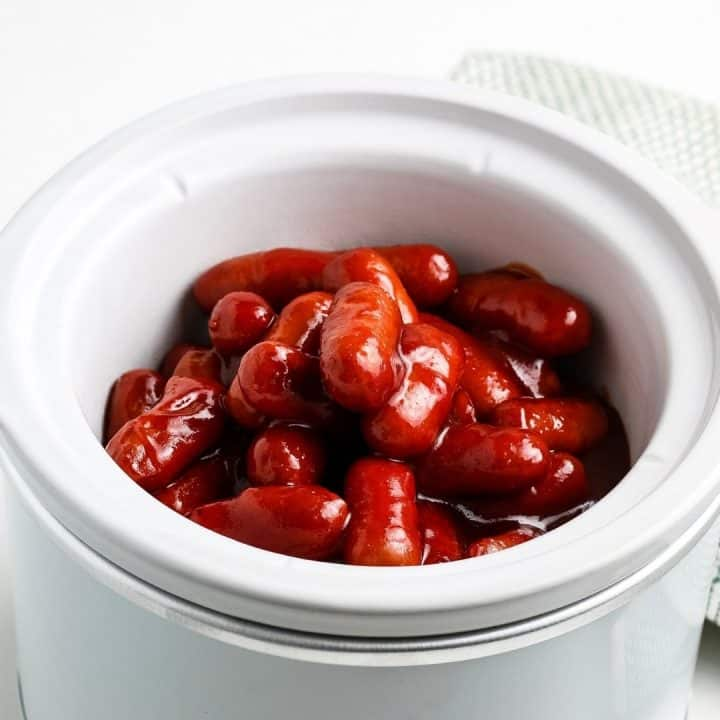 square image of bbq little smokies in white crock pot