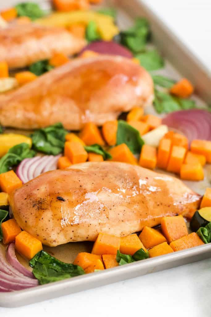 maple mustard chicken with roasted vegetables
