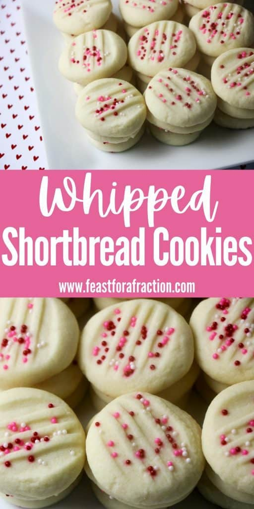 collage of whipped shortbread cookies topped with pink nonpareils on white platter