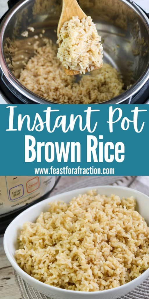 """collage of brown rice cooked in instant pot with title text """"Instant Pot Brown Rice"""""""