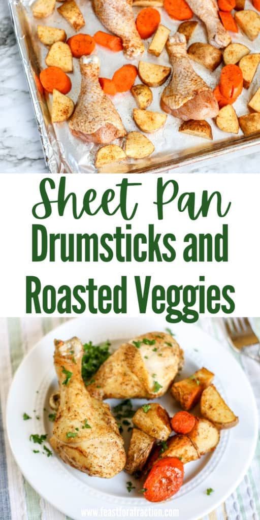 collage of drumsticks, carrots and potatoes on sheet pan and cooked chicken and veggies on white plate