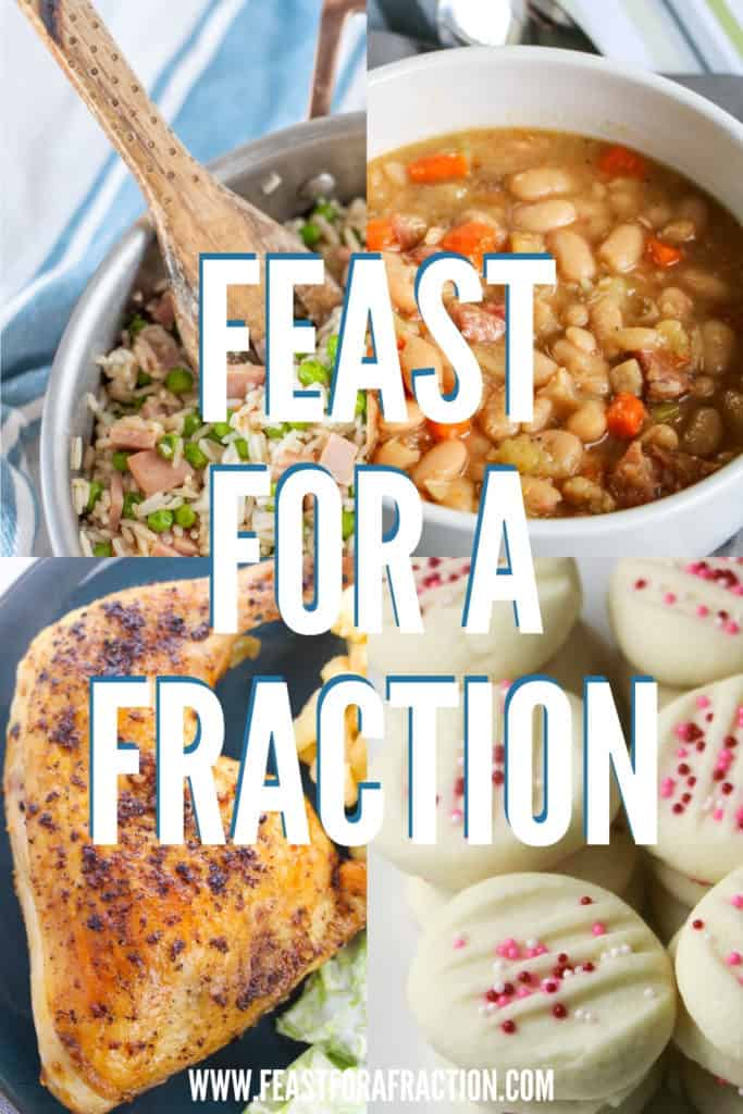 """collage of frugal meals with title text """"Feast for a Fraction"""""""