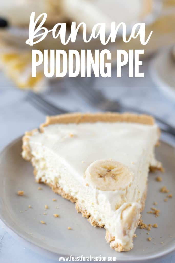 slice of banana pudding pie on grey plate with title text