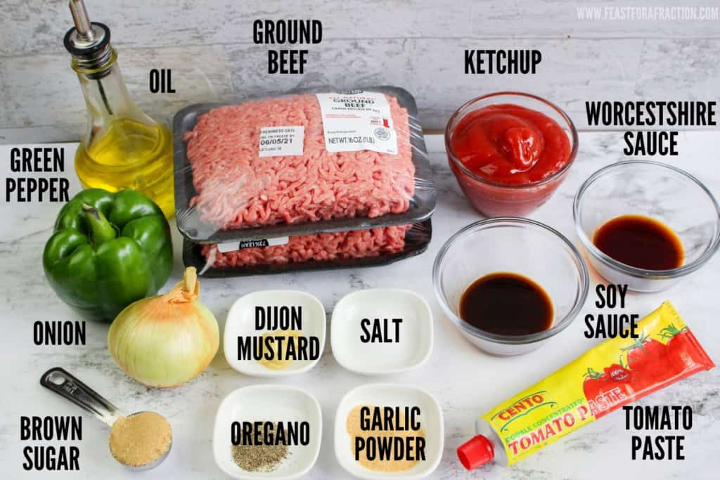labeled ingredients for sloppy joes