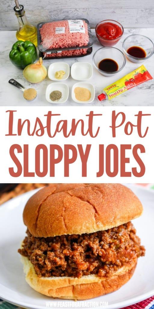 collage image of sloppy joes ingredients and prepared sloppy joe sandwich