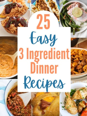 collage of 3 ingredient dinner recipes